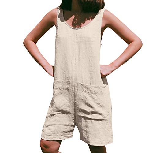 LONGDAY Women Summer Jumpsuit Tank Top Short Romper Cami Cotton Linen Pockets Cropped Pants Harem Loose Wide Leg Shorts Beige (Rider Q2 Bike)