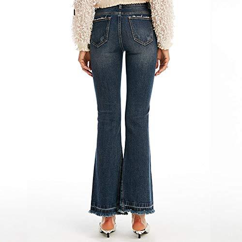 MVGUIHZPO Jeans Femme Jeans mit hoher Taille, getragene Jeans, Damenmode-Fransen, Micro-Hosen. XL