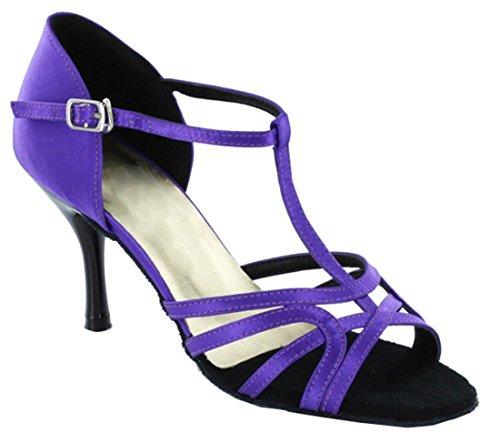 Tda Donna T-strap Stiletto Tacco Alto Peep Toe Salsa Tango Ballroom Latino Moderno Scarpe Da Ballo Di Danza Viola