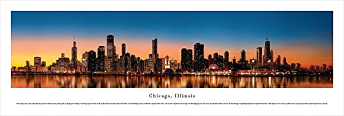 Chicago, Illinois at Sunset - Blakeway Panoramas Unframed Skyline - Sunset In Mn Times
