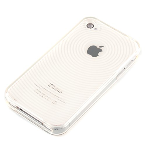 deinPhone - iPhone 4 4S Case Schutzhülle Schutz Handy Hülle Bumper Tasche Etui Silikon Case Rundmuster in Weiß Transparent