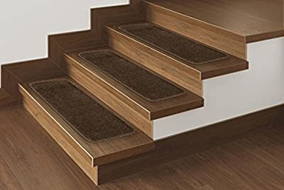 "Ottomanson Softy Stair Tread Mats, Skid Resistant, Rubber Backing, Non Slip Carpet, 9""x26"", 7 Piece, Solid Dark Grey"
