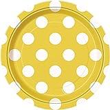 Yellow Polka Dot Paper Cake Plates, 8ct