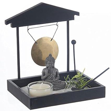 Jardin Zen Japonais Bouddha avec Sable, Gong, photophore...