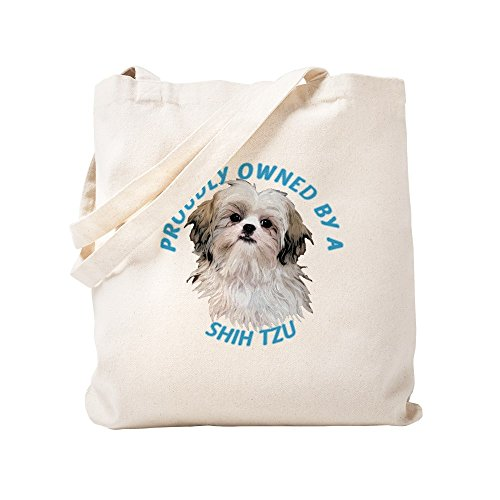 CafePress Proudly Owned Shih Tzu Natural Canvas Tote Bag, Cloth Shopping Bag ()