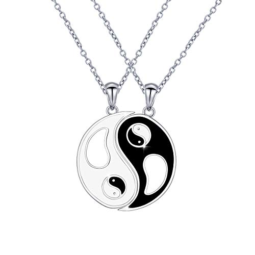 DAOCHONG S925 Sterling Silver Ying Yang Tai Chi Matching Best Friend Couples Pendant Necklaces Gifts for 2 Women Men Teen Girls BFF Set Graduation
