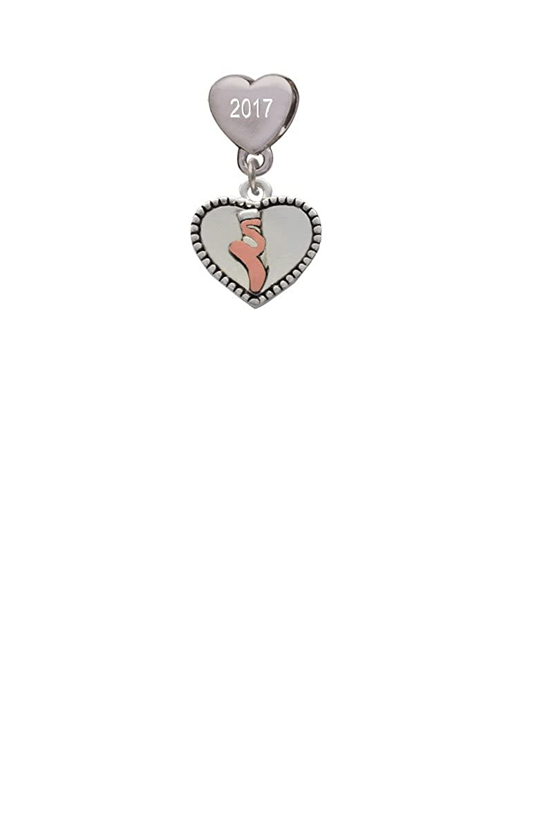 Ballet Shoe in Heart Custom Year Stainless Steel Heart Bead Charm