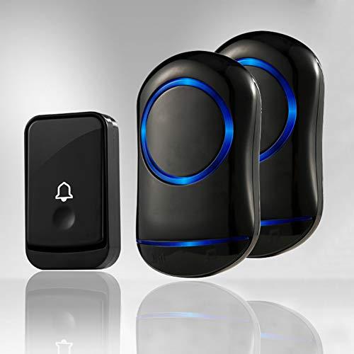 WXLAA Home Waterproof Wireless Doorbell 45 Songs Chime Door Bell 1 Transmitter 2 Receiver 300M Black EU Plug