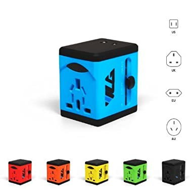 Travel Adapter and Charger by VLG - USB Charging Ports - Super Fast Charging - All International Standard Cell Phone/Desktop/Laptop/Touch Screen Tablet/Computer/GPS Chargers (Sky Blue)
