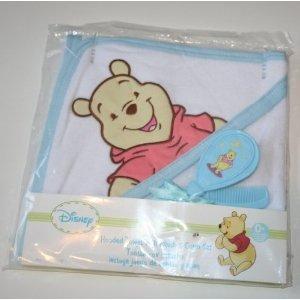 Disney Winnie the Pooh Hooded Bath Towel & Brush & Comb Set - Blue by Disney