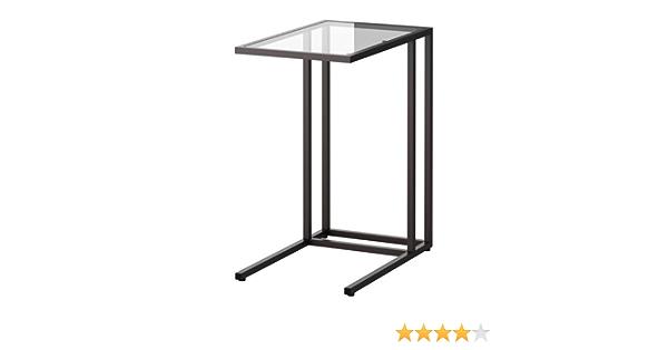 Ikea Vittsjö - Laptop stand, negro-marrón, vidrio - 35x65 cm
