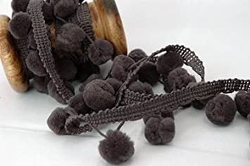POM POM trim  DARK GREY A FULL 18 metres