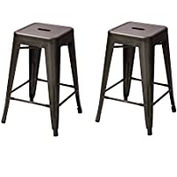 Homebeez Metal Dinning Chairs Industrial Counter Stools 24 Inches Tolix style Backless Armless, Set of 2, Bronze