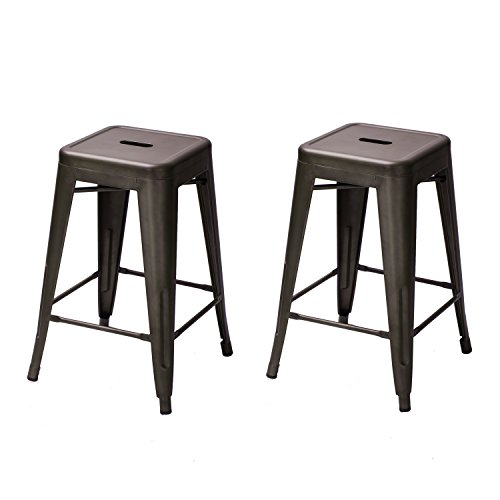 Tolix-style Backless Barstools Glossy Metal with Square Seat Chair Counter Stool (set of 2) (Deep Brown) (24' Backless Metal)