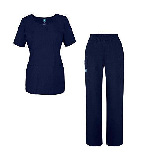 Universal Women's Scrub Set - V-Neck Scrub Top and Elastic Pull-On Scrub Pants - 901 - Navy - S