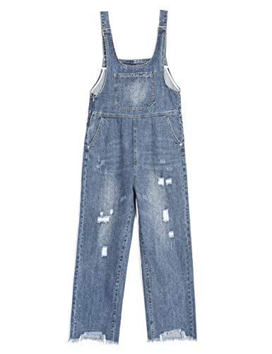 Omoone Women's Loose BF Cropped Denim Bibs Overalls Ripped Jeans Romper Jumpsuit(Blue-XXL)
