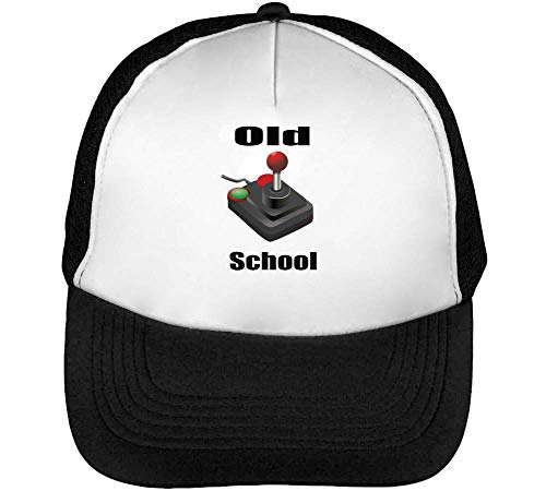 Old School Joystic Gorras Hombre Snapback Beisbol Negro Blanco