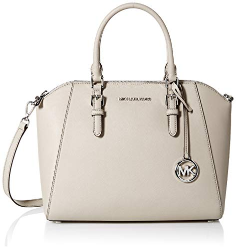 Michael Kors Large Ciara Top Zip Womens Saffiano Leather Satchel (CEMENT) (Michael Kors Flache)