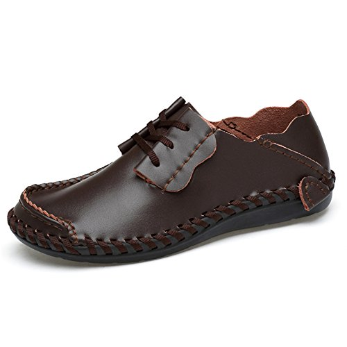 ChicWind Mens Wide Feet Shoes Casual Leather Comfort Lace-up Sneaker Dark Brown ()