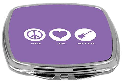 Rikki Knight Peace Love Rock Star Design Compact Mirror, Violet, 2 Ounce