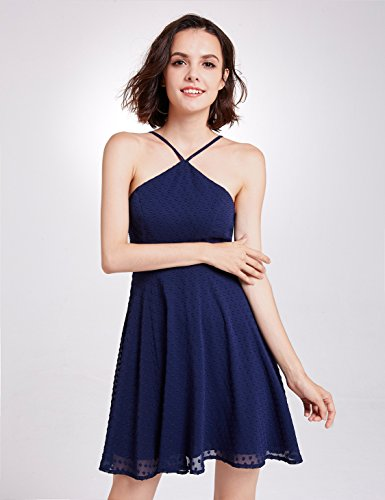 Casual Sleeveless Spaghetti Dress s Straps Chiffon Short Alisapan Navy Women Blue 05696 qU1xwIA