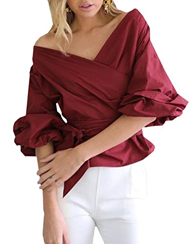 Lapiness Women's Puff Sleeve Blouses Off Shoulder Sashes Shirts Tops Casual Party (Wine Red, ()