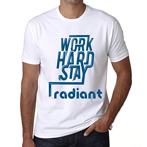 Men's Vintage Tee Shirt Graphic T Shirt Work Hard Stay Radiant White ()