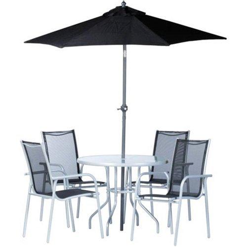 garten set sitzgruppe 6 teilig st hle tisch und sonnenschirm f r terrasse balkon garten. Black Bedroom Furniture Sets. Home Design Ideas