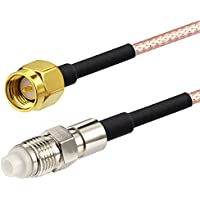 Bingfu RF Pigtail 50 ohms Standard FME Jack Female to SMA Plug Male on 15.24cm(6in) RG316 Coaxial Cable for Telcommunications Wireless Mobile Applications Installations (Pack of 2)