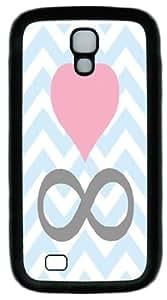 Infinite Love Pattern - Pink heart Black TPU I9500 Case for Samsung Galaxy S4 I9500