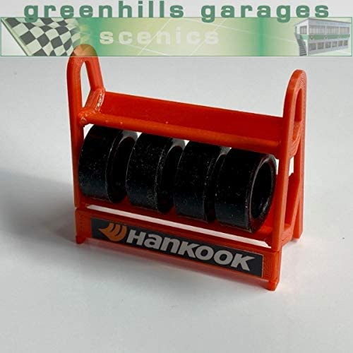 New G2071 Greenhills Scalextric Carrera Tyre Rack with 4 x Tyres in Red 1.32 Scale