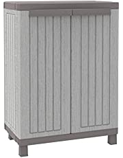 Terry, C-Wood 680, szafka z 2 drzwiami o wyglądzie drewna i półką, do wewnątrz i na zewnątrz. Kolor: szary, materiał: tworzywo sztuczne, wymiary: 68 x 39 x 91,5 cm, szary/szary gołębi