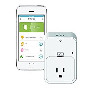 D-Link DSP-W215 Wi-Fi Smart Plug + Energy Monitoring, Turn On/Off Your Electronics from Anywhere, Compatible with Amazon Echo