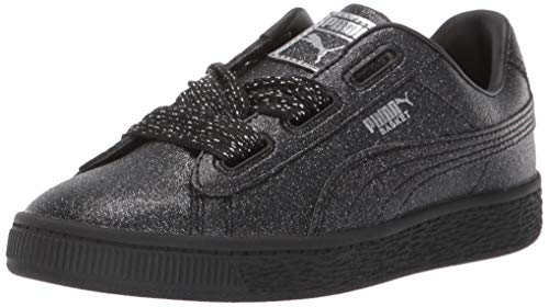(PUMA Baby Basket Heart Patent Kids Sneaker BlackSilver 9 M US Toddler)