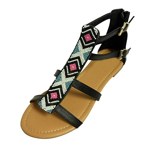 Best Black Gretchen Gladiator Open Toe Back Zipper Beaded Sandals with Side Strap Buckle Hippy Comfortable Hippie Walking Bohemian Tribal Print Native Flip Flops for Women Teen Girl (Size 5.5, Black) (Sandal Buckle Side)