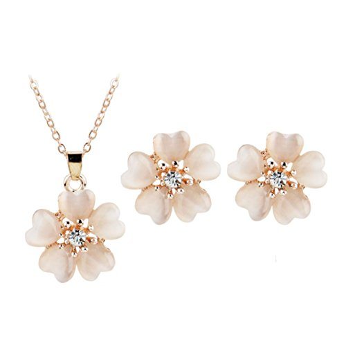 Challyhope Women Elegant Cute Exquisite Jasmine Flowers Crystal Pendant Necklace Ear Studs Set Fashion Jewelry Ornaments ()