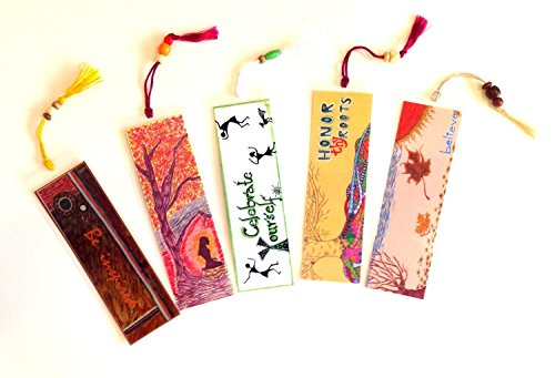 Set of 5 Bookmarks - Inspire & Motivate - Handmade Reading Book Accessories Art Print Laminated with Beaded Silk Tassel Book Reader Gift Party Favor