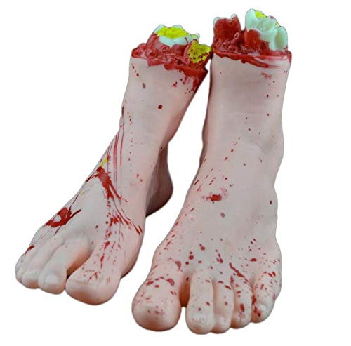 Fairy-Margot 1 Pair 1:1 Size Halloween Decoration Novelty Toys for Gags Practical Jokes Realistic Bloody Hand Foot Halloween Party Supplies,Burgundy for $<!--$33.69-->
