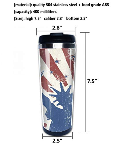 Stainless Steel Insulated Coffee Travel Mug,Girlish Design Teenager Cartoon Style Cute Figures,Spill Proof Flip Lid Insulated Coffee cup Keeps Hot or Cold 13.6oz(400 ml) Customizable printing