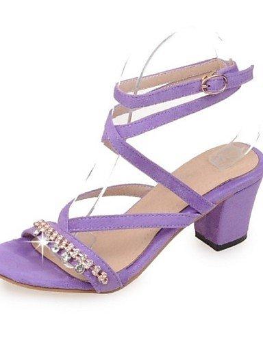 LFNLYX Chaussures Femme-Extérieure / Bureau & Travail / Décontracté-Noir / Jaune / Violet / Camel-Gros Talon-Talons-Sandales-Similicuir , black , us8.5 / eu39 / uk6.5 / cn40