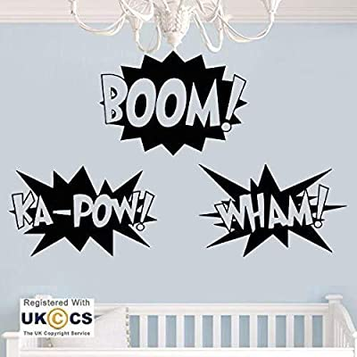 Ke10nce Boom Ka-Pow Wham Cartoon Boys Bedroom Wall Decals Vinyl Wall Stickers Home Decor Wall Art Murals for Living Room Bedrooms Kids Boys Girls: Kitchen & Dining