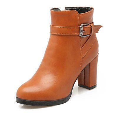 RTRY Women's Shoes PU Leatherette Fall Winter Comfort Novelty Bootie Boots Chunky Heel Round Toe Booties/Ankle Boots Buckle For Party & US6 / EU36 / UK4 / CN36 sNZpnB