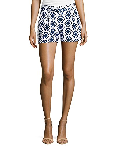 (DVF Ikat Batik Printed Naples Shorts, Catalina Blue/White (12))