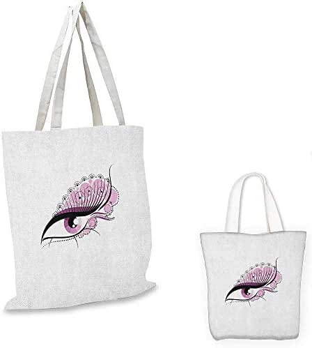 Eyelash canvas messenger bag Abstract Eye with Big Pink Dots Circles and Floral Feminine Details canvas beach bag Pale Pink Black White. 12