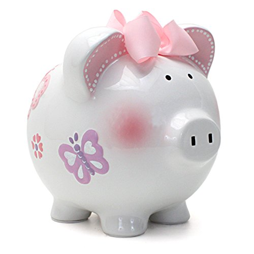 Child to Cherish - Ceramic Piggy Bank, Large Coin Bank for Kids and Adults with Pen for Decoration - Butterfly ()