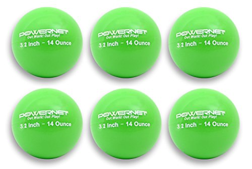 """PowerNet 3.2"""" Weighted Hitting Batting Training Balls (6 Pack)   14 Green   Build Strength and Muscle   Improve Technique and Form   Softball Size   Enhance Hand-Eye Coordination"""