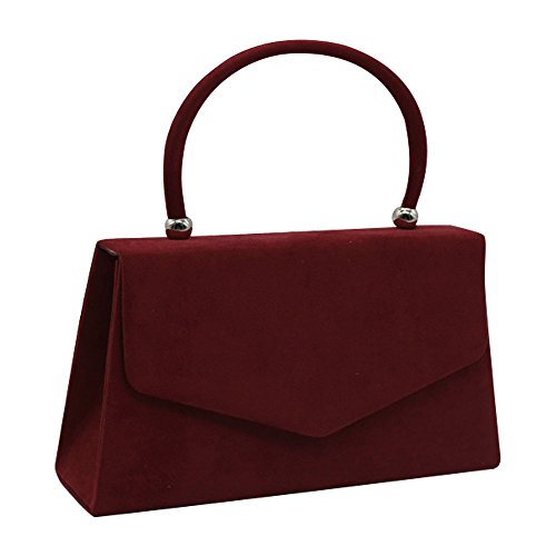 Clutch Suede Shoulder Prom Handbag Velvet Envelope Bag Bag Burgundy Women's Coral Cckuu Evening xRqwUSC