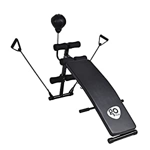 Goplus Adjustable Incline Weight Bench Curved Sit Up Bench Board W/Speed Ball and Pull Ropes