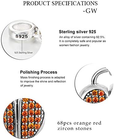GW 925 Argent Sterling Dames Breloques Perles Perle pour Bracelet Charme Bracelet Collier Pendentif Cadeau pour Les Femmes