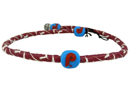 Phillies Baseball Leather Philadelphia (MLB Philadelphia Phillies Retro P Logo Team Color Frozen Rope Baseball Necklace)